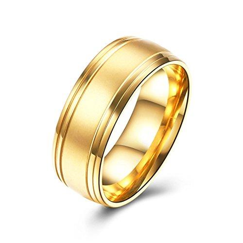 SanJiu Schmuck Unisex Ringe Vergoldet Ring Rad Form Elegant Partnerringe Freundschaftsringe Eheringe Trauringe Verlobungsringe für Damen und Herren Gold Größe 62 (19.7) (Schlange Echte Stiefel)