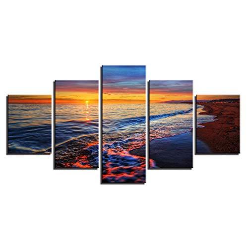 mmwin Leinwand Wandkunst Bilder Arbeiten Wohnkultur 5 Stücke Sonnenuntergang Meereswellen Strand Seascape s Wohnzimmer HD Drucke Poster