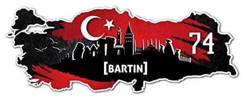 Aufkleber Sticker Türkei 74 Bartin Motiv Fahne für Auto Motorrad Laptop Fahrrad