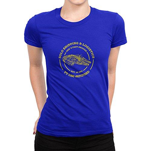 Planet Nerd Solo Shipping & Logistics - Damen T-Shirt, Größe: L, Farbe: Blau