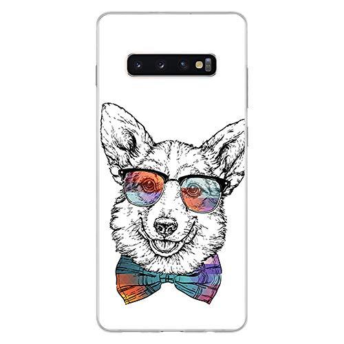 BJJ SHOP Transparent Hülle für [ Samsung Galaxy S10 Plus ], Klar Flexible Silikonhülle, Design: Hipster Corgi mit Fliege und Sonnenbrille