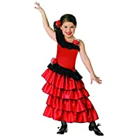 Child's Red and Black Spanish Princess Costume, Small