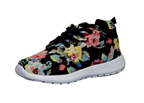 S&LU tolle Mädchen Schnürschuhe, Sneakers mit schönem Allover-Blumenprint Größe 25 - 36 Schwarz