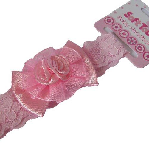 B03 en dentelle rose Bow Bandeau pour bébé par Soft Touch Convient pour baptême