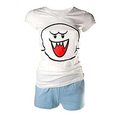 Pyjama court avec short Super Mario Boo Hoo sous licence Nintendo - Coton - Blanc, bleu