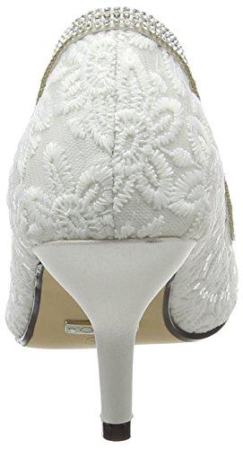 Quiz Damen Diamante Lace Peep Toe Court Pumps White (White)