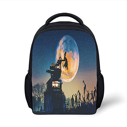 Kids School Backpack Fantasy World,Dead Queen in Castle Zombies in Cemetery Love Affair Bridal Halloween Theme,Blue Yellow Plain Bookbag Travel Daypack