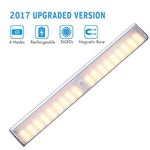 Wireless Motion Sensor Cabinet Light, Cynthia 36 LEDs Stick-on Motion Activated Closet Night Lighting Bar with 4 Light Modes, for Corridor Stairway Kitchen Wardrobe Drawer Under Counter Cupboard Shed Garage (Warm