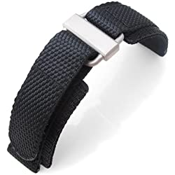 22mm MiLTAT Honeycomb Black Nylon Velcro Fastener Watch Strap Sandblasted Buckle, XL