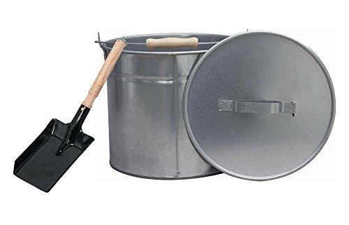SIENA HOME Ascheeimer mit Deckel, 12,5 Liter, Ø 28 cm, verzinkt, Aschenkübel, Kohleneimer, inkl Kohleschaufel, Set by Danto®