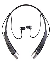 SONILEX (SL-BT12) BASS Sports In ear Neckband Bluetooth Headset for Gym Jogging Running with Music / Calls Controls Neck Band Wireless Bluetooth Headset with Noise Cancelling Sports Stereo BT Headset wireless supports Music Streaming and Hands-Free Calling Bluetooth Headphones with Secure Fit for Sports Gym Running & Outdoor with Built-in Microphone compatible to all Android Smartphones Iphone Tablets Laptops and Desktops - SNLX-BTHS-BT12 (BLACK)