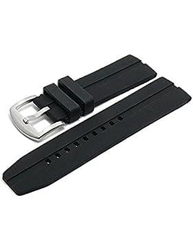 Meyhofer Uhrenarmband Varese 26mm schwarz Silikon mit Längsnut matt MyPlkkb3005/26mm/schwarz/oN