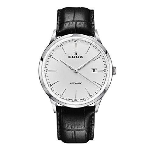 EDOX Hommes Analogique Automatique Montre avec Bracelet en Cuir 80106-3C-AIN