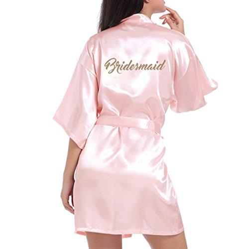 Hibote Hochzeit Brautjungfer Robe Short Kimono Robe Nacht Robe Bademantel Fashion Dressing Gown für Frauen Light Pink XL Kimono-shorts