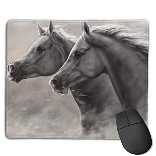 35dc2cfacbeb7 ASKSWF Mouse Pad Couple Horse Artistic Painting Rectangle Rubber Mousepad  8.66 X 7.09 Inch Gaming Mouse Pad with Black Lock Edge