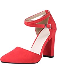 COOLCEPT Mujer Western Elegant Tacon Alto Ankle Strap Cordones Sandalias (34 EU, Red)