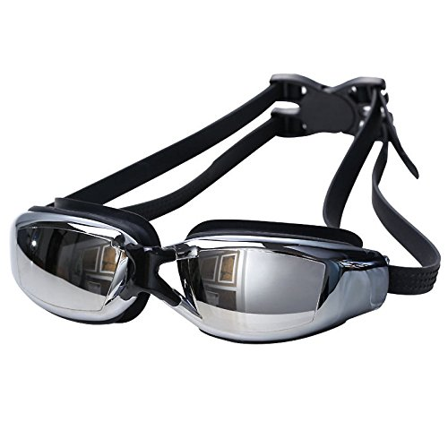 Binwo Taucherbrille, Schwimmbrille mit Antibeschlag UV Schutz für einen guten Durchblick, größenverstellbar (Schwarz)