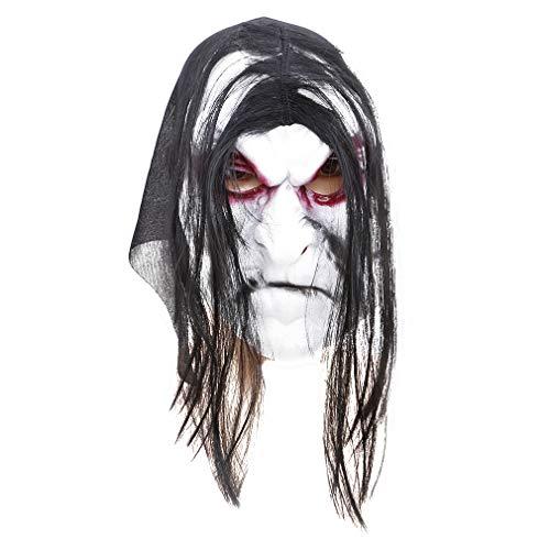 VWH Halloween Maske Lange Haare Ghost Scary Maske Requisiten Groll Ghost Hedging Maskerade Zombie Maske (Maske Ghost Scary)