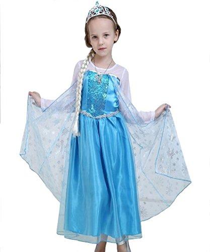 lassisch mit Umhang Schneeflocken–Alle Größen 110 = 3-4 ANNI blau (Baby Frozen Kostüme)