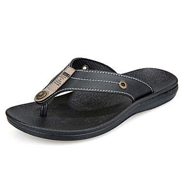 Chaussons & amp pour hommes, été Comfort PU extérieur Brown Sandales noires sandales US8.5-9 / EU41 / UK7.5-8 / CN42