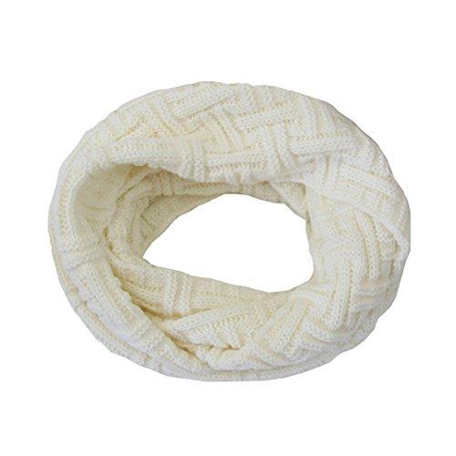 Butterme Damen Frauen Winter Strick Unendlichkeits Schal Art und Weisekreis Schlaufe Schals dicke warme Tuch verschiedene Farben vorhanden (Weiß)
