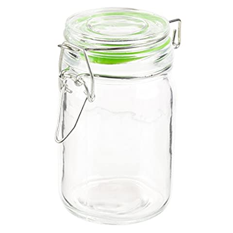 Small Clamp Lid Seal Storage Jam Jar Preserve Container (Green)