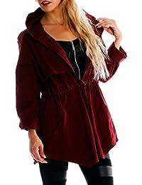 Damen Parka Trench Jacke mit Kapuze und Tunnelzug
