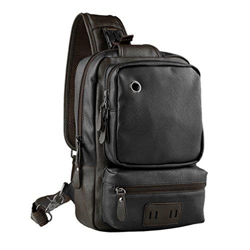Vbiger Männer Sling Bag PU Leder Brust Taschen Casual Sport Schulter BagOutdoor Cross-Body Brust Pack und Kopfhörer Loch