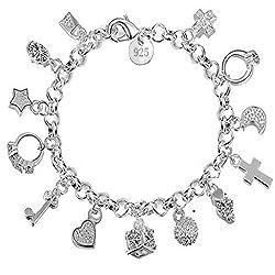 Charm Bracelet Women Silver...