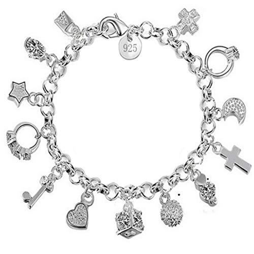 9d8b486236bd Charm Bracelet Women Silver Jewelry Hand Chain Pendants Decoration