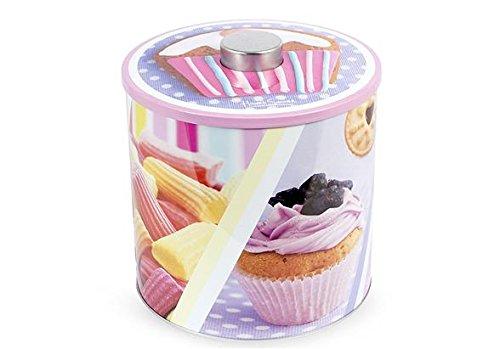 Home Boîte à biscuits ronde, motif candy, 17 x 20 cm, Métal, Multicolore