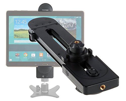 """Photecs® Tablet Stativ Adapter Typ3 (optim. Edition V2) mit 2X 1/4"""" Zoll Stativgewinde, Universal Halterung Halter f. Tablet-PC & Smartphones 5 bis 14 Zoll (max. 27,5 cm Gerätebreite)"""