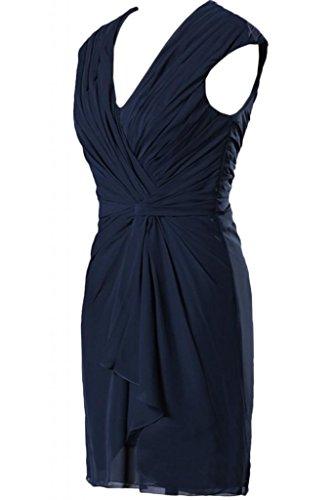 Sunvary elegante Chiffon guaina corte con collo a V, motivo: Mother Of the Bride Gowns abiti Inchiostro blu