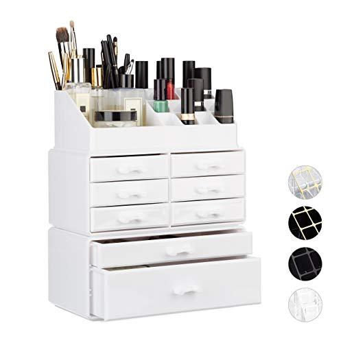 Relaxdays Organizador Maquillaje con Cajones, Blanco, 14x24x30 cm