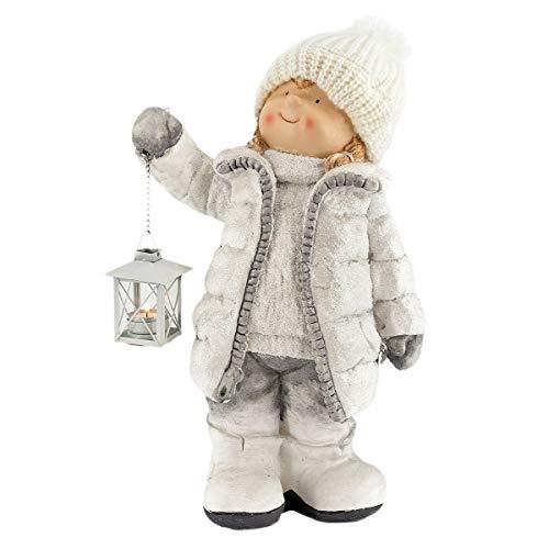 """Winterkind\""""Mädchen\"""" mit Teelichthalter-Laterne, Höhe ca. 49cm, Wollmütze, Weiß"""