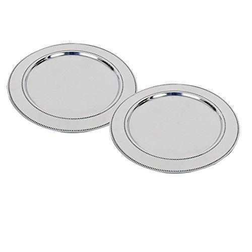 Kosma Satz von 2 Ladegerät Platten Dekorative unter Platten in der Größe 33 cm Hohe aus poliertem, rostfreiem Stahl