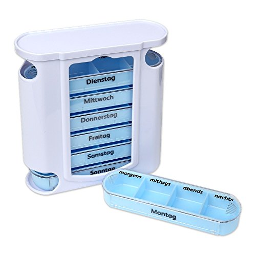 Schramm Tablettenbox Weiss mit Blauen Schiebern 7 Tage Pillen Tabletten Box Schachtel Tablettendose Pillendose Pillenbox Tablettenboxen Pillendosen Pillen Dose Wochendosierer