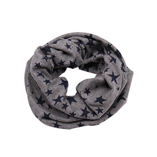 OULII Kinder Halstuch Schal Winter warm Schlauchschal Sterne gedruckt Mädchen Jungen Halswärmer in verschiedenen Farben (Grau)