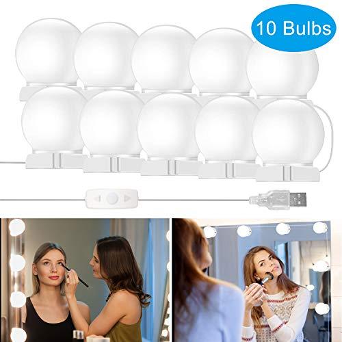 LED Spiegelleuchte, innislink Spiegelleuchte Hollywood Stil Dimmbar 10 LED Vanity Spiegellampe Schminklicht Make up Licht Spiegel Beleuchtung für Schminkspiegel Schminktisch Leuchte Licht - Kaltweiß