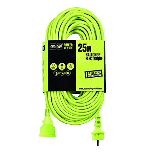 Masterplug exf25162g1-px Cable alargador eléctrico, 220V, Verde neón, 25m