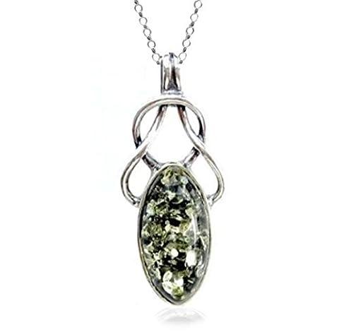 Noir celtique Ambre verte Argent sterling Pendentif chaîne rolo 45,7cm