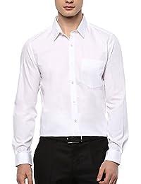 Turtle Men's White Solid Slim Fit Formal Shirt