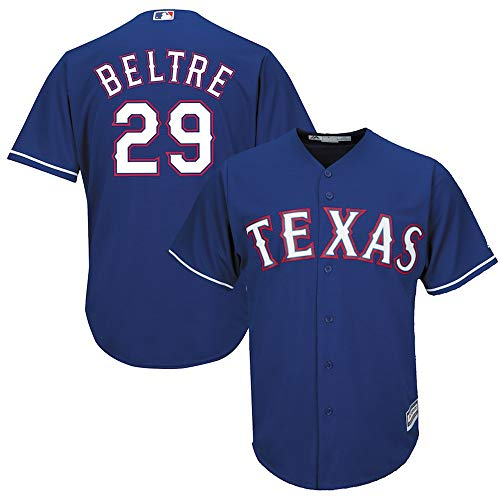 best website f9313 12d29 YQSB Camiseta Deportiva Baseball Jersey Liga de béisbol Texas Rangers # 29  Beltré béisbol Bordado,Blue,Men-XL