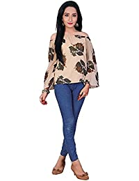 Purva Art Girls Western Print Faux Georgette Stitched Top & Tunic For Womens (PA-2401_Chiku Print_Faux Georgette_Stitched_JFW...