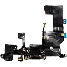 Smartex   Conector de Carga para iPhone 5 5G Negro – Dock de repeusto con Cable Flex, Altavoz, Antena, Micrófono y Conexión Botón de inicio.