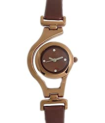 Kissu Designer Round Shape Watch-Brown