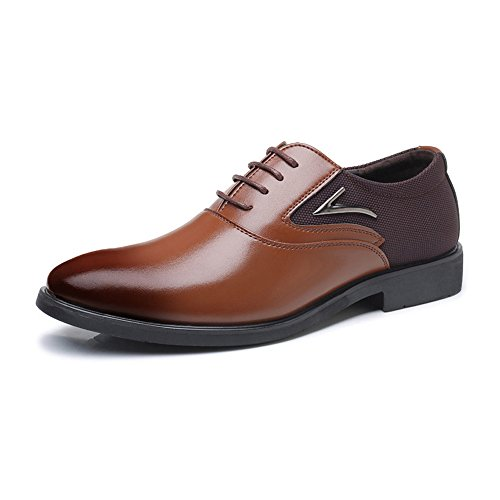 IWGR Herren Business Schuhe Matte PU Leder Splice Canvas Vamp Lace Up Block Ferse Gefüttert Oxfords Atmungsaktiv (Color : Braun, Größe : 48 EU) - Geboren-leder-schuhe
