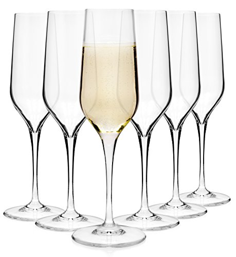 Bormioli Sektglas Set 'Electra' 6 teilig | Gastronomiequalität | Füllmenge Sektflöte 23 cl | Stiellänge 10 cm | Perfekte Brillianz Dank Star Glass Technologie