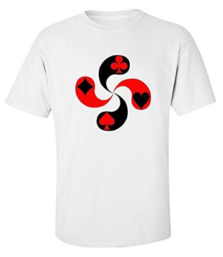 Karte Anzug symbol kunst t-shirt herren baumwoll weiss (XL) (T-shirt Poker Anzug)