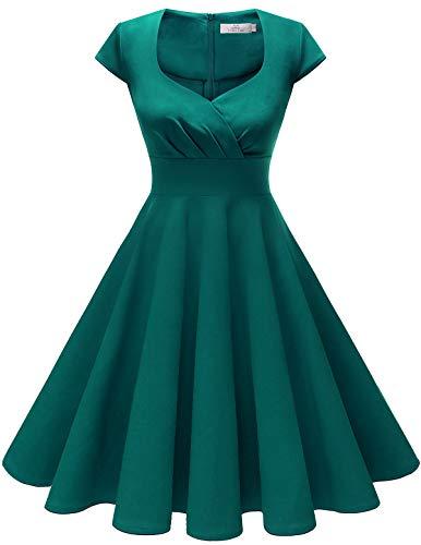 HomRain Damen 50er Retro Vintage Rockabilly Cocktail Party V-Ausschnitt Abendkleid Turquoise 3XL -